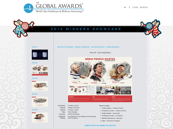 Frontera Group London, London, UK, Echeverría Agencia de Publicidad, Ipa best of health awards 2014. Business to Business. Multi-Chanel. Self - Promotion Campaing. Channel Specific. Self - Promotion Campaign. The Global Awards 2014. World's Best Healthcare & Wellness Advertising. Self - Promotion Campaign.
