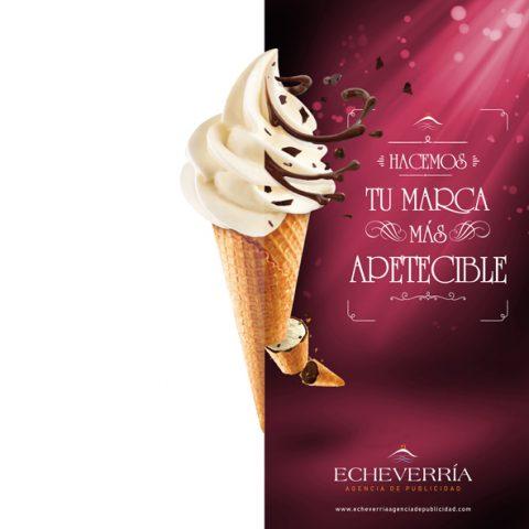 """Echeverría Agencia de Publicidad Campaña """"Hacemos tu marca más apetecible"""" Splash helado"""