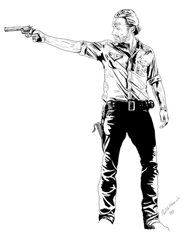 Ilustración The Walking Dead Brasil Rick Grimes, Zombie