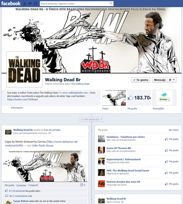 Portada web e ilustración para The Walking Dead Brasil