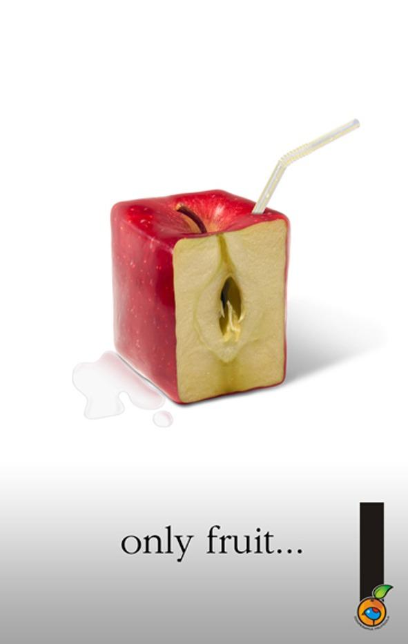 Only Fruit.... Manzana. Campaña lanzamiento de los zumos de fruta naturales, de Cooperativa Frutícola.