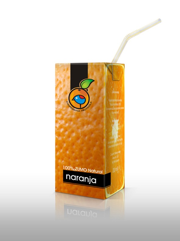 Only Fruit.... Naranja Packaging de los zumos de fruta naturales, de Cooperativa Frutícola.