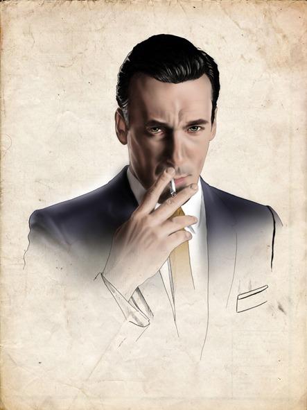 """Cinema & Series Ilustraciones para el articulo """"Mad Men. Historias de las agencias de publicidad"""". Don Draper, Jon Hamm"""