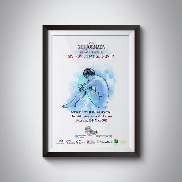 """XIII Jornada de Avances en el Síndrome de Fatiga Crónica. Ilustración y diseño de la campaña de comunicación para la """"XIII Jornada de Avances en el Síndrome de Fatiga Crónica"""", Hospital Universitari Vall d´Hebrón, Barcelona."""