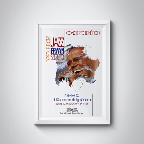 Ilustración y diseño del poster del concierto benéfico para la investigación del Síndrome de Fatiga Crónica, Unidad del Síndrome de Fatiga Crónica, Hospital Universitari Vall d´Hebrón, Barcelona.