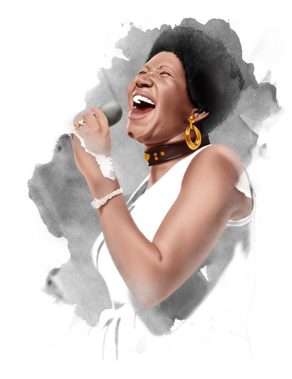 Ilustración Soul Legends Aretha Franklin.